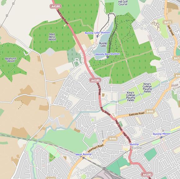 London map OpenStreetMap for Ruislip