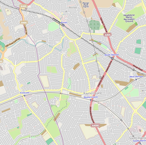 London map OpenStreetMap for Pinner, Rayners Lane