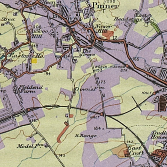 London map 1930s Land Utilisation Survey for Pinner, Rayners Lane