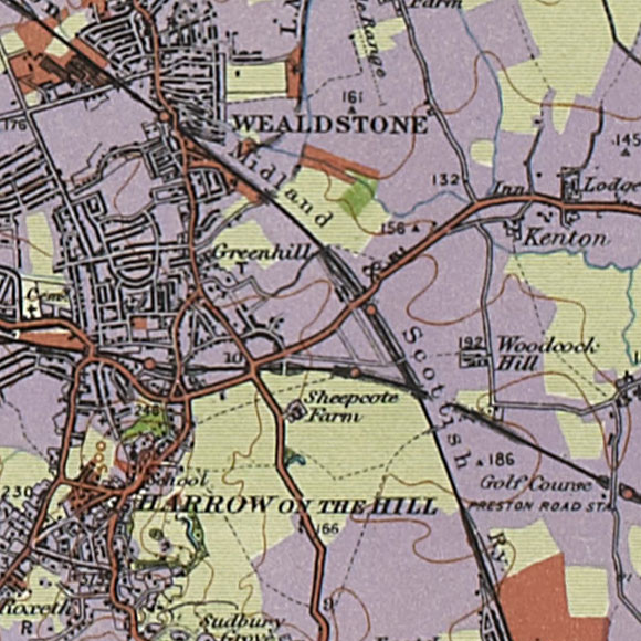 London map 1930s Land Utilisation Survey for Harrow, North Wembley
