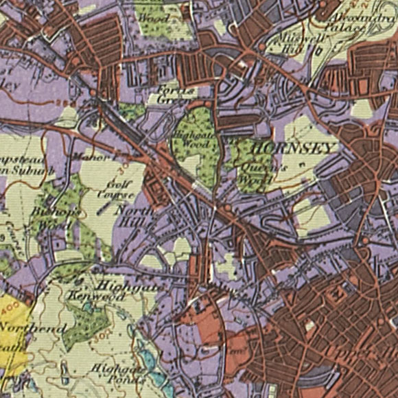 London map 1930s Land Utilisation Survey for Hampstead Heath, Highgate, Archway