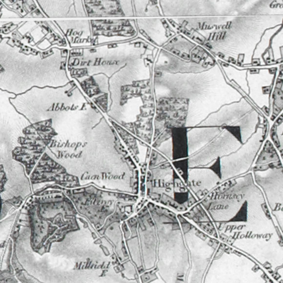 Ordnance Survey First Series map for Hampstead Heath, Highgate, Archway