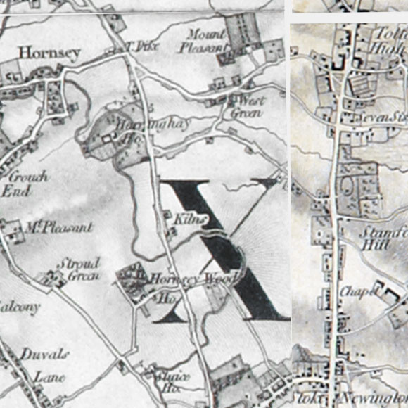 Ordnance Survey First Series map for Stroud Green, Stoke Newington, Seven Sisters