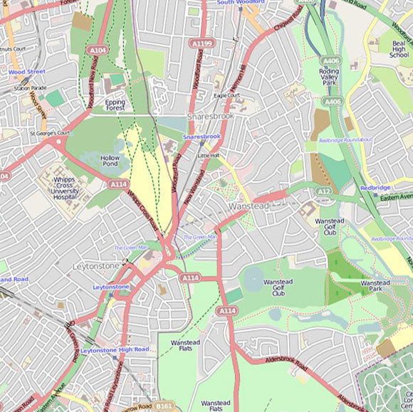 London map OpenStreetMap for Leytonstone, Snaresbrook
