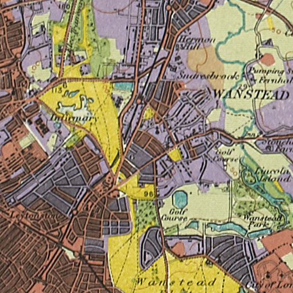 London map 1930s Land Utilisation Survey for Leytonstone, Snaresbrook