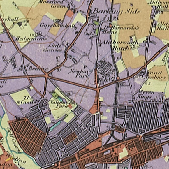 London map 1930s Land Utilisation Survey for Ilford, Newbury Park