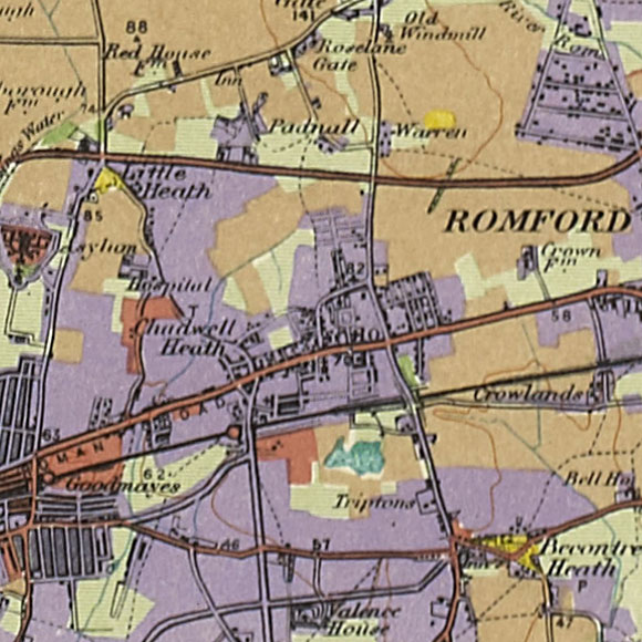 London map 1930s Land Utilisation Survey for Chadwell Heath, Crowlands