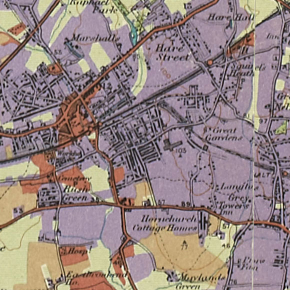 London map 1930s Land Utilisation Survey for Romford, Hornchurch