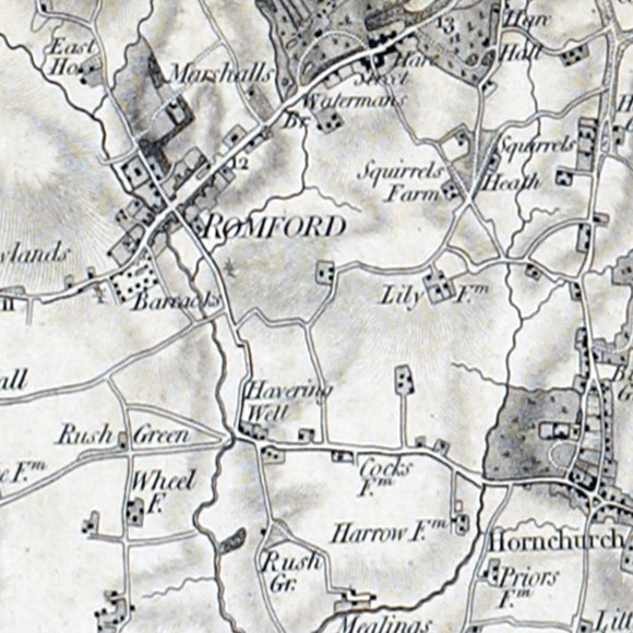 Ordnance Survey First Series map for Romford, Hornchurch