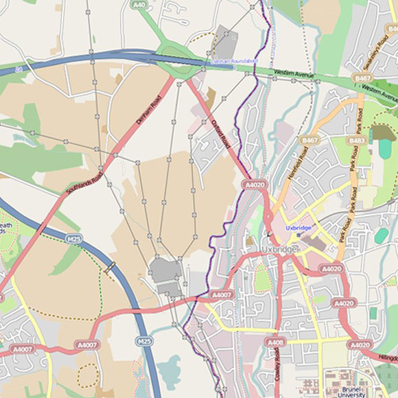 London map OpenStreetMap for Cowley, Uxbridge