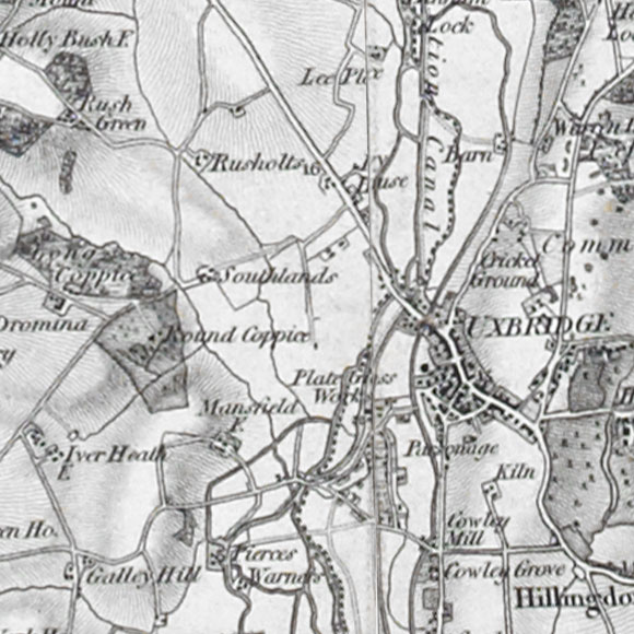 Ordnance Survey First Series map for Cowley, Uxbridge