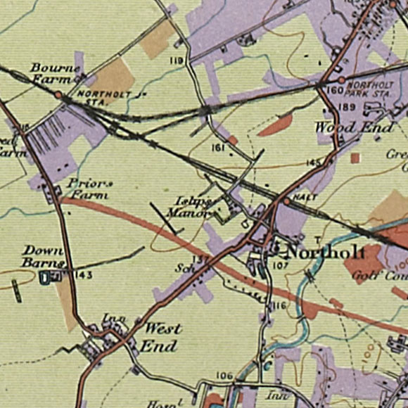 London map 1930s Land Utilisation Survey for Northolt, Greenford