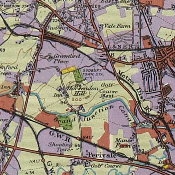 London map 1930s Land Utilisation Survey for Sudbury, Perivale