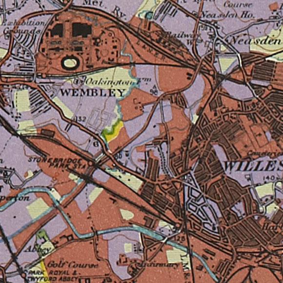 London map 1930s Land Utilisation Survey for Wembley, Neasden, Harlesden