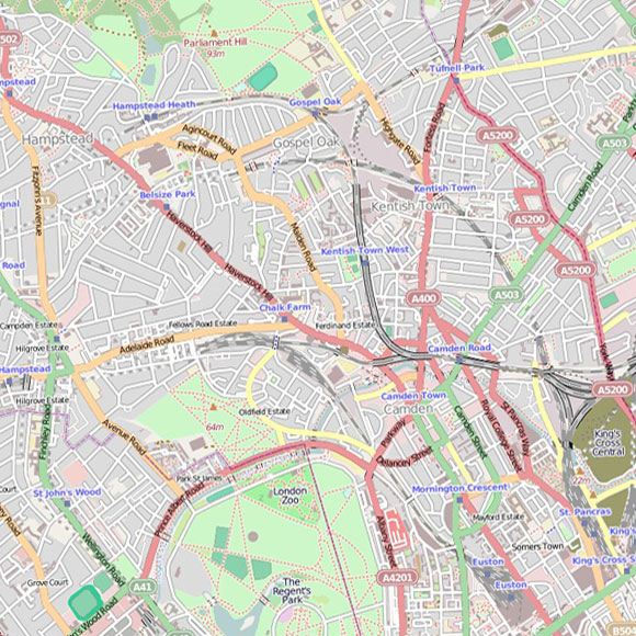 London map OpenStreetMap for Hampstead, Tufnell Park, Camden