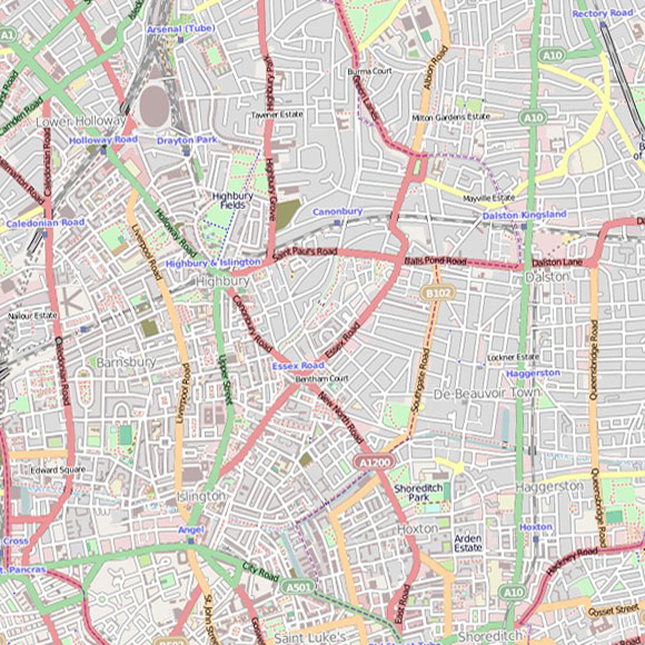 London map OpenStreetMap for Islington, Finsbury, Dalston