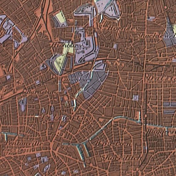 London map 1930s Land Utilisation Survey for Islington, Finsbury, Dalston