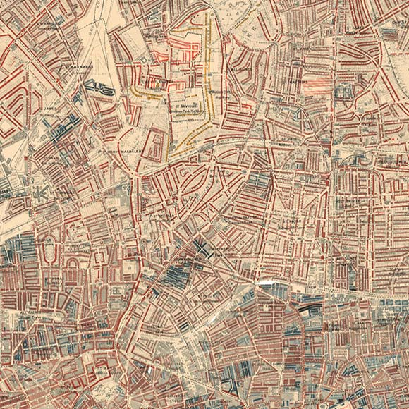 London map Booth Poverty Map for Islington, Finsbury, Dalston