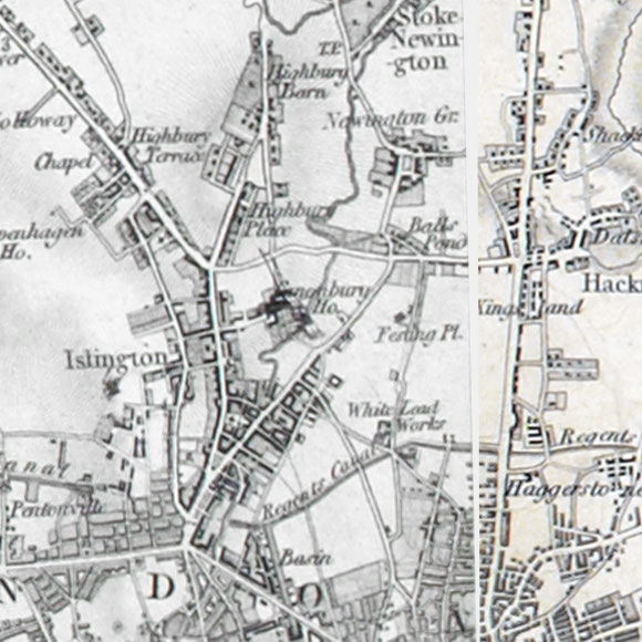 Ordnance Survey First Series map for Islington, Finsbury, Dalston