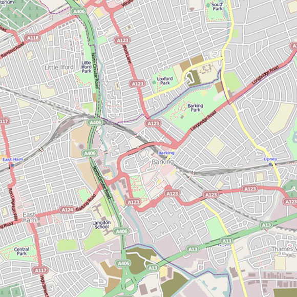 London map OpenStreetMap for East Ham, Barking