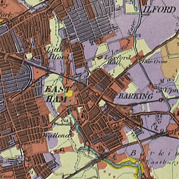 London map 1930s Land Utilisation Survey for East Ham, Barking