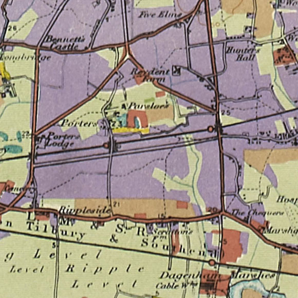 London map 1930s Land Utilisation Survey for Barking Riverside, Dagenham