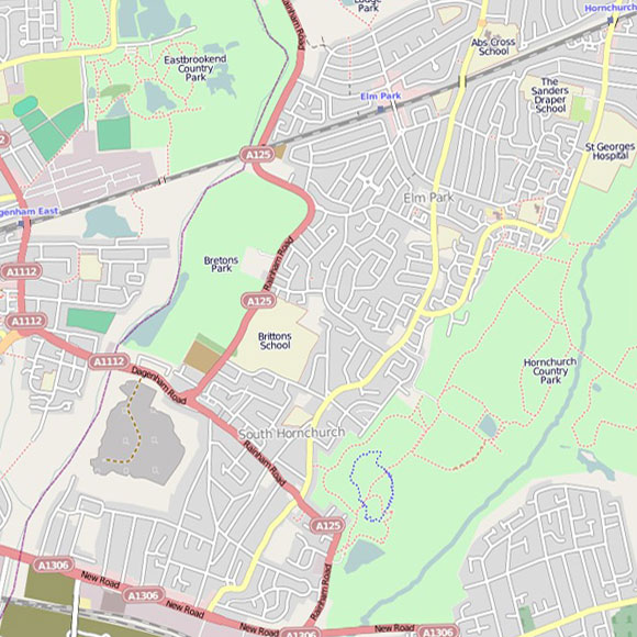 London map OpenStreetMap for Elm Park, Rainham