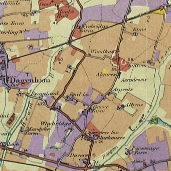 London map 1930s Land Utilisation Survey for Elm Park, Rainham
