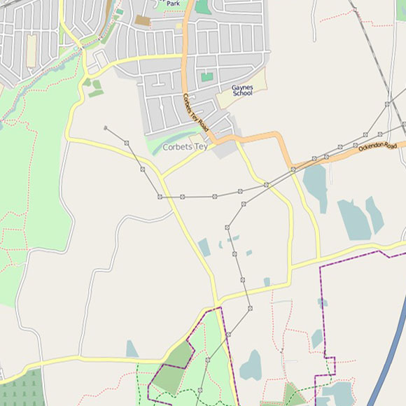 London map OpenStreetMap for Hacton, Corbets Tey