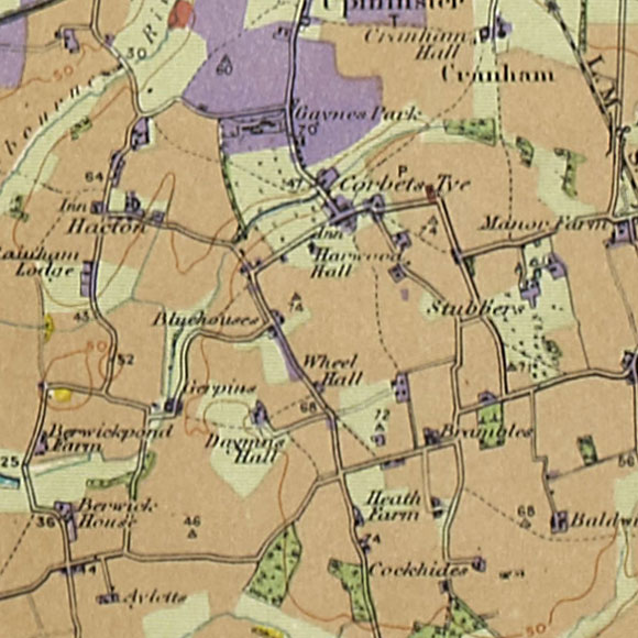 London map 1930s Land Utilisation Survey for Hacton, Corbets Tey