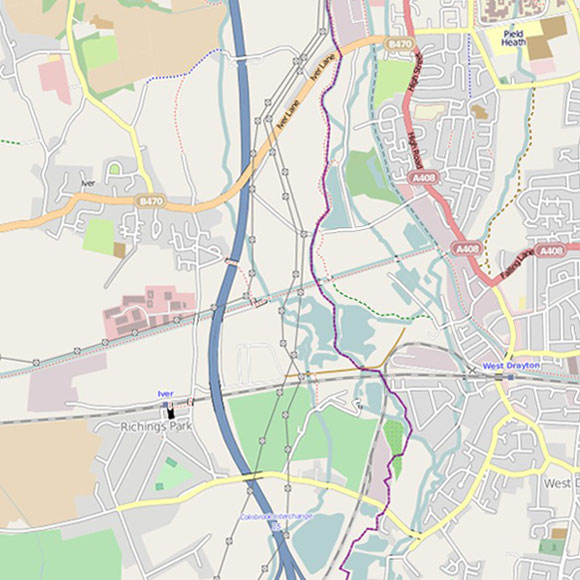 London map OpenStreetMap for West Drayton