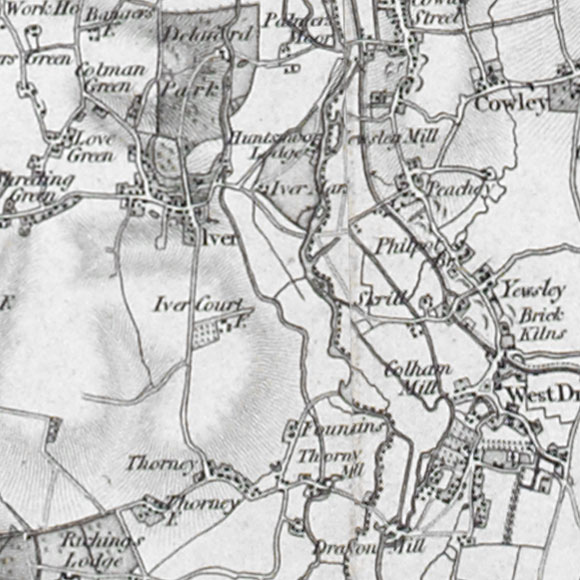 Ordnance Survey First Series map for West Drayton