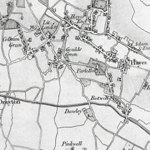 Ordnance Survey First Series map for Goulds Green, Hayes