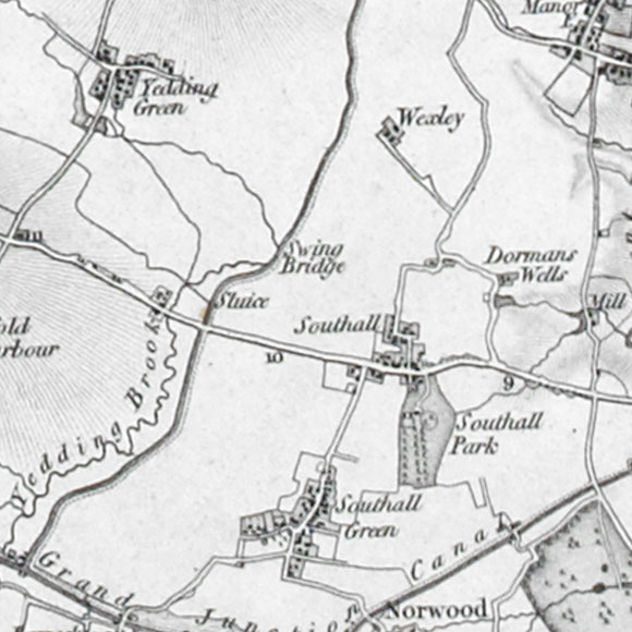Ordnance Survey First Series map for Southall, Norwood Green