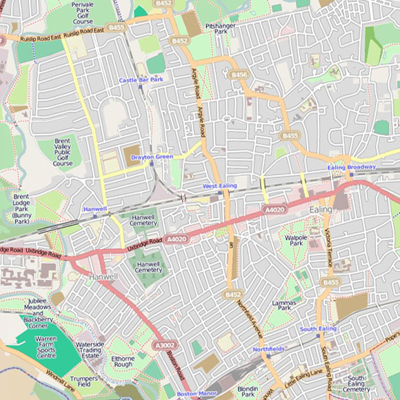 London map OpenStreetMap for Hanwell, Ealing