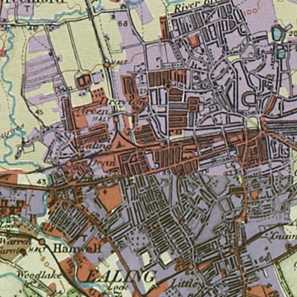 London map 1930s Land Utilisation Survey for Hanwell, Ealing