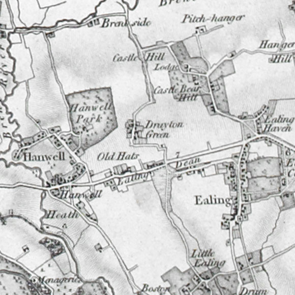 Ordnance Survey First Series map for Hanwell, Ealing