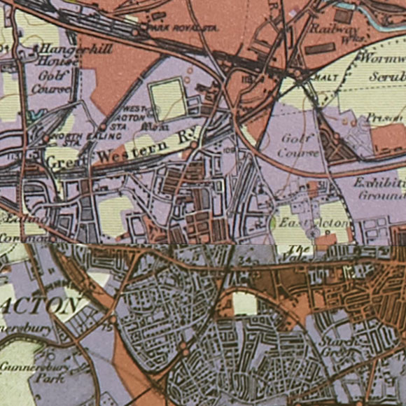 London map 1930s Land Utilisation Survey for Acton, Wormwood Scrubs