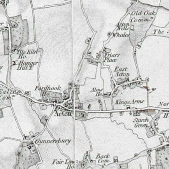 Ordnance Survey First Series map for Acton, Wormwood Scrubs