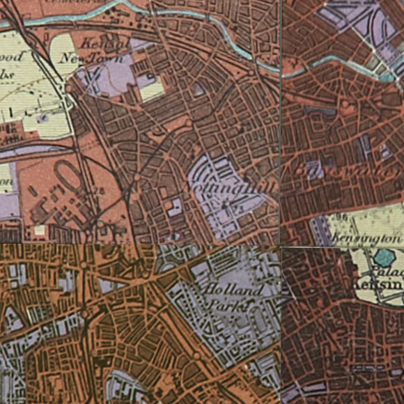 London map 1930s Land Utilisation Survey for Hammersmith, Shepherds Bush, Kensington
