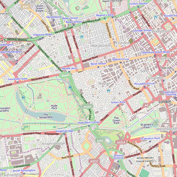 London map OpenStreetMap for Knightsbridge, West End