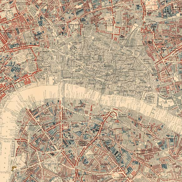 London map Booth Poverty Map for City, Spitalfields, Waterloo, Borough