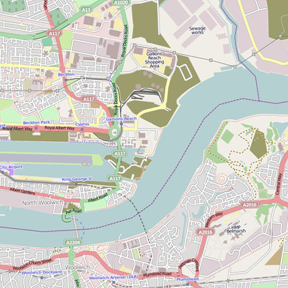 London map OpenStreetMap for Beckton, Woolwich, Thamesmead