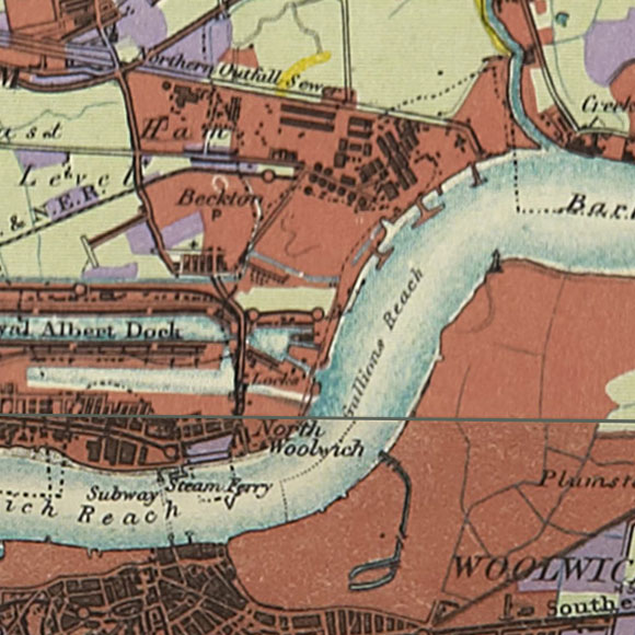 London map 1930s Land Utilisation Survey for Beckton, Woolwich, Thamesmead