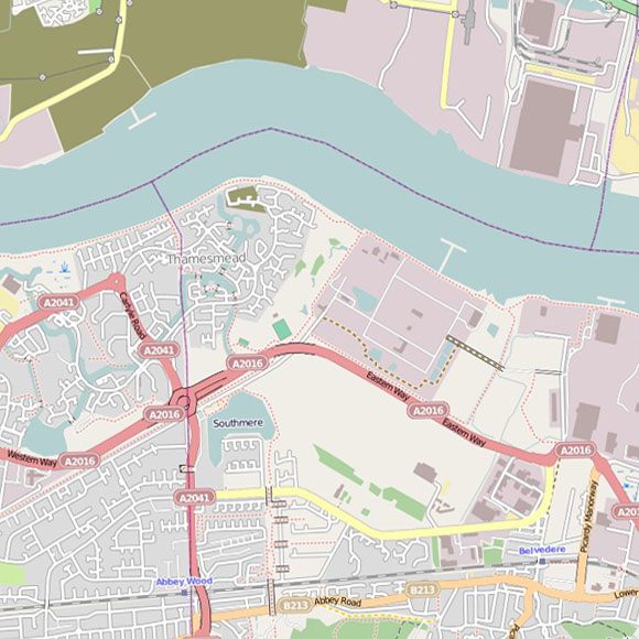 London map OpenStreetMap for Thamesmead, Abbey Wood, Belvedere