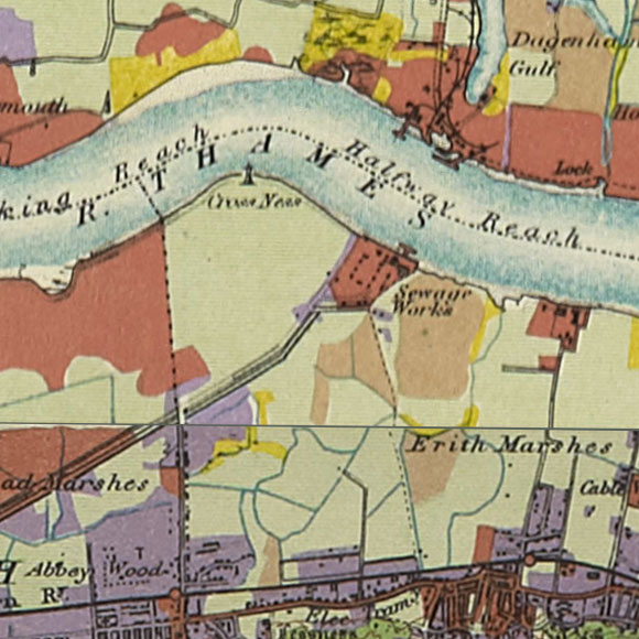 London map 1930s Land Utilisation Survey for Thamesmead, Abbey Wood, Belvedere