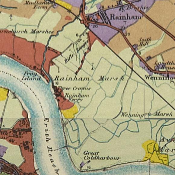 London map 1930s Land Utilisation Survey for Rainham, Wennington Marshes