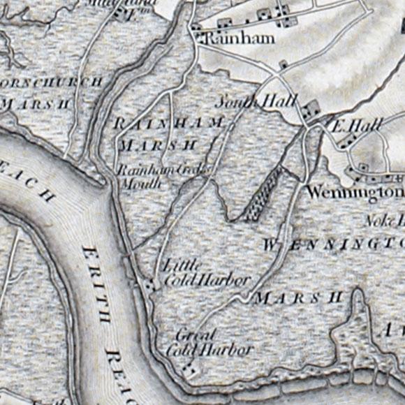 Ordnance Survey First Series map for Rainham, Wennington Marshes