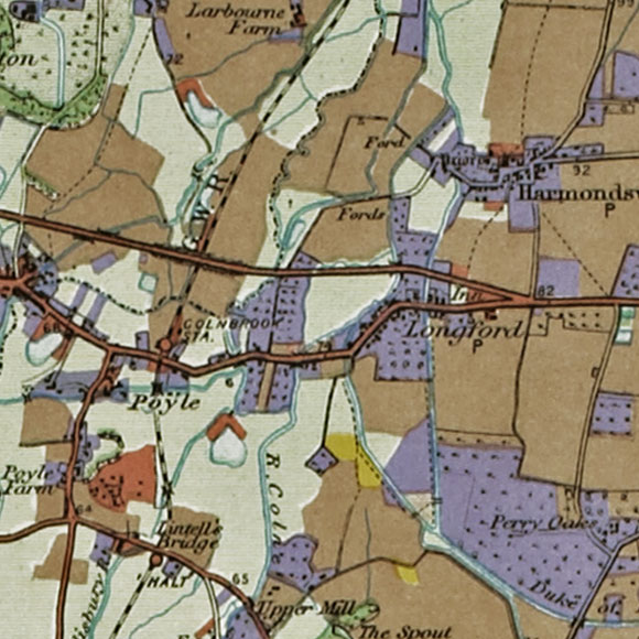 London map 1930s Land Utilisation Survey for Longford, Heathrow