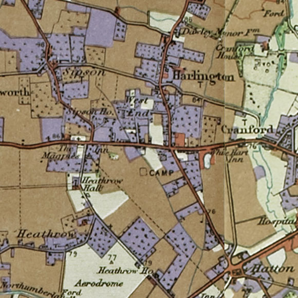 London map 1930s Land Utilisation Survey for Heathrow, Hatton